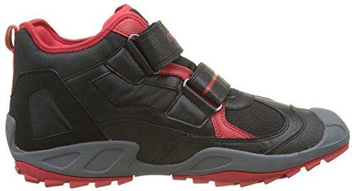 Geox J New Savage B, Baskets Hautes Mixte adulte Noir (Black/Red)