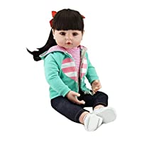 """Decdeal Reborn Real Life Baby Doll Girl 19"""" Babies Art Doll Great for Ages 3+ Birthday Gift Toy Green Vest"""