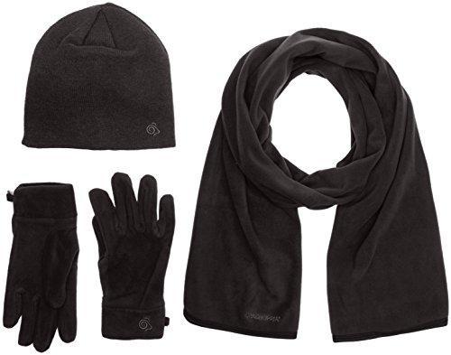 Craghoppers Herren \'s Essential II Fleece Mütze/Schal/Handschuhe Set S Schwarz - Black Pepper