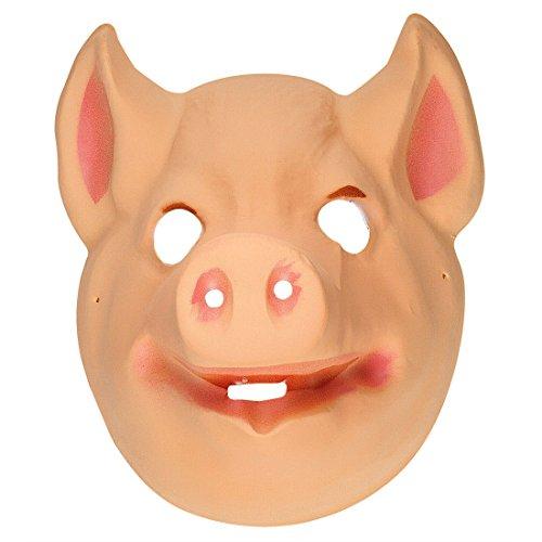 NET TOYS Schwein Maske Kinder Schweinemaske Plastik Sau Tiermaske Kindermaske Ferkel Tier Faschingsmaske Schweinchen Tierkostüm Zubehör