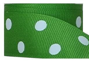 Zipperstop Grosgrain Ribbon Dots 7/8 Inch 5 Yards Apple Green -