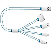 Cavo di ricarica multifunzione, caricabatteria USB 4 in 1 universale, adattatore con Lightning a 8 pin, connettore a 30 pin, Micro USB, USB 3.0, per iPhone 6S, 6, 5, 4, iPad, iPod Touch di sesta e quinta generazione, Galaxy S7 Edge, S6, S5, S4, Note 4, 5 e altri, colore: blu