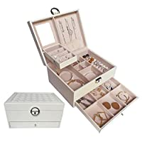 HerFav Large Jewellery Box for Women Leather Jewellery Organiser Lockable Case Storage with Mirror and Lock for Rings, Bracelets, Earrings, Necklaces