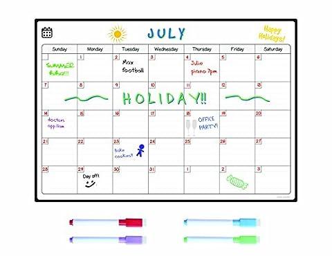 Calendrier mensuel Tableau blanc magnétique pour réfrigérateur par Smart Panda