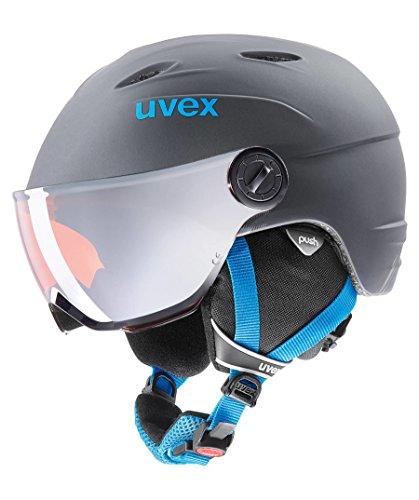 Uvex Kinder Junior Visor Pro Skihelm, Titanium-Blue Mat, 52-54 cm