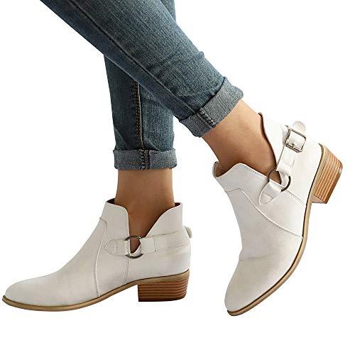 OSYARD Worker Boots Lederstiefel Damen Schwarz Große Größe Vintage Winter Elegante Mode Frauen Stiefel Spitz Boots Klassische Stiefeletten Freizeitschuhe (230/37, Weiß)