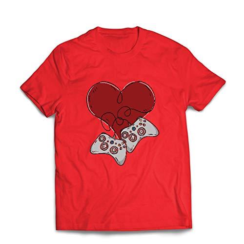 lepni.me Männer T-Shirt Video-Spieler, Controller Herz (Medium Rot Mehrfarben)