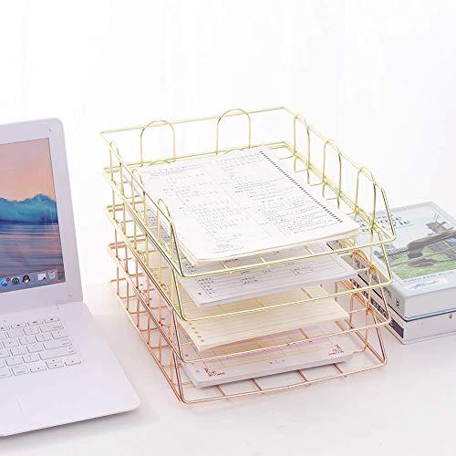 AFDK Schreibtischablage Briefablage Aufbewahrungssystem, Eisendraht, Desktop-Ordner, Briefablage, Ablage, Papierablage, Briefablage, Goldfarbe, 4 Stück