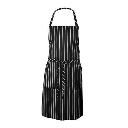 TREESTAR Schürze mit Taschen für Erwachsene, ohne Ärmel, gestreift, Polyester, schmutzabweisend, für Küche, Garten, Restaurant, Hotel, Arbeitszubehör, 61 x 78 cm (Erwachsenen-schürze Mit ärmeln)