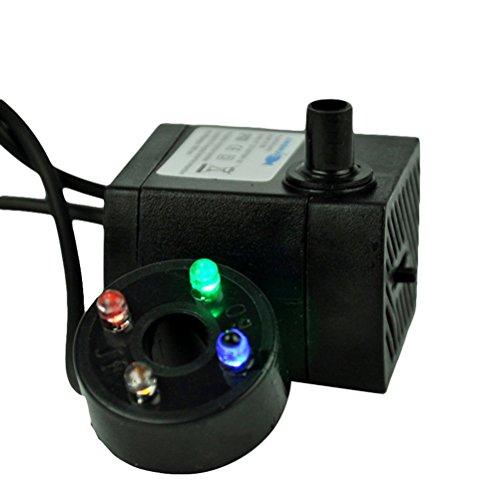BESTOMZ Wasserdichte Wasserpumpe für Springbrunnen Wasserteich Aquarium mit EU-Stecker mit LED-Licht 3W Schwarz