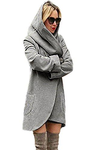 Minetom Damen Strickjacke Langarm Oversize Lang Cardigan Strickmantel Frauen Winterjacke Mantel Jacke Trenchcoat Outerwear Mit Kapuze Hoodies Dunkelgrau DE 46