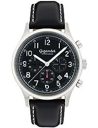 Gigandet Quarz Herren-Armbanduhr Efficiency Chronograph Uhr Datum Analog Lederarmband Schwarz G50-004