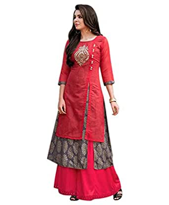 OM SAI LATEST CREATION Women's Georgette Kurti(Red_X-Large)