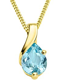 Miore Necklace - Pendant Women Chain Blue Topaz Yellow Gold 9 Kt/375 Chain 45 cm