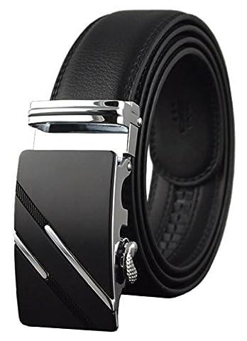 QISHI YUHUA PD Men's Fashion trends Cowhide Leather Belt Automatic Buckle Belt, Black 06, Suitable for 20'-39' waist