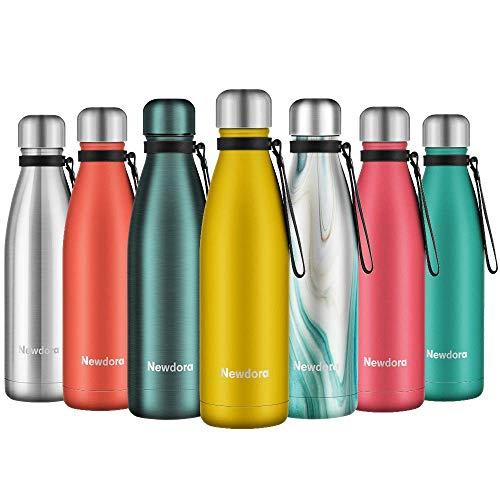 Newdora Botella de Agua Acero Inoxidable 500ml, Aislamiento de Vacío de Doble Pared, Botellas de Frío/Caliente, con 1 un Cepillo...