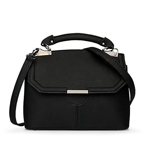 Wewod Koreanisch Unschuldig Damen Quaste Tragbare Einfarbige Prägung Shell Tasche Diagonalen Umhängetasche Schulter Messenger Bag (Schwarz)