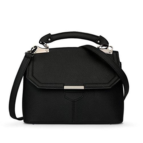 Wewod Koreanisch Unschuldig Damen Quaste Tragbare Einfarbige Prägung Shell Tasche Diagonalen Umhängetasche Schulter Messenger Bag (Schwarz) (Moderne Koreanische Tracht)