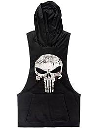 Men Cotton Stringer Fitness Gym Shirt Herren Tank Top Skull Totenkopf T-Shirt mit Kapuze Weste Muscleshirt Print Sport Vest