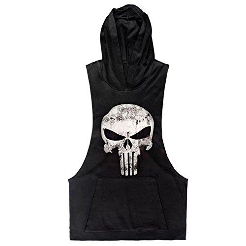 Men Cotton Stringer Fitness Gym Shirt Herren Tank Top Skull Totenkopf T-Shirt mit Kapuze Weste Muscleshirt Print Sport Vest (M(empfehlen Bust 95-103 cm), Schwarz) (Kapuzen-print T-shirt)