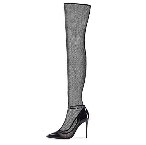 CHUABUTNDF Sexy Damen Spitzen Stiefel Mesh Garn über den Knien Coole Stiefel Größe High Heels Damen Stiefel