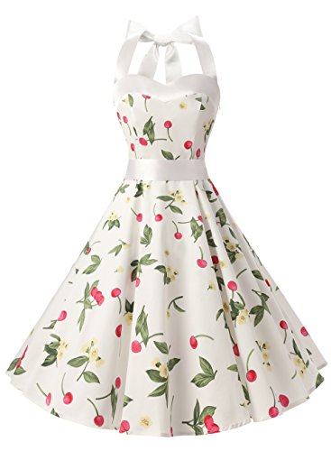 Dresstells Neckholder Rockabilly 50er Vintage Retro Kleid Petticoat Faltenrock White Small Cherry XL