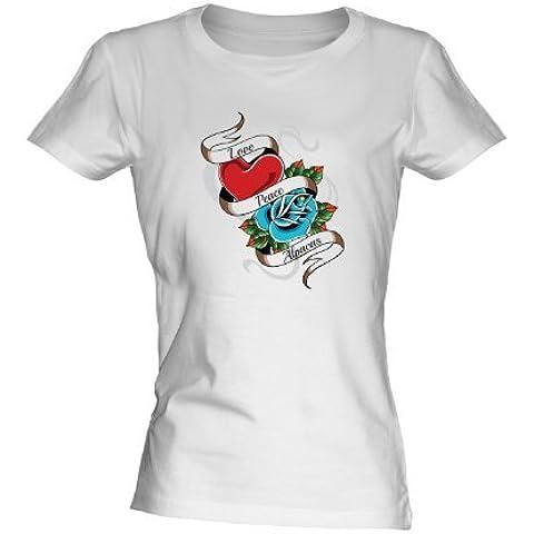 Love Paz Alpacas Tatuaje camiseta blanca de mujer Ajustada Camiseta Camisa Top