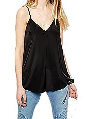 Laixing Buena Calidad Women Sleeveless V-neck Chiffon Tank Top Shirts Vest FWY10249#