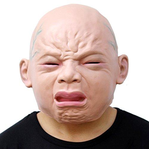 Baby Schrecklich Kostüm - CreepyParty Halloween Kostüm Party Menschlicher Kopf Latex Masken Schrei Baby Realistischer Mensch Maske