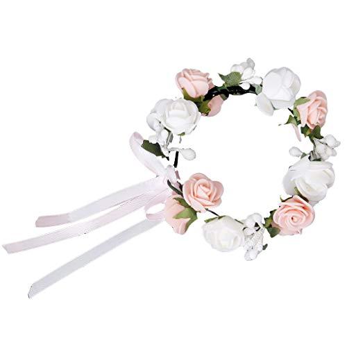 TOOGOO(R) Bracelet Guirlande de Fleurs de Roses pour Festival Mariage Outil de Photographie - Rose et Blanc