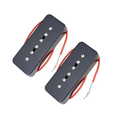 Baoblaze 2pcs P90 Soapbar Gitarren Tonabnehmer Hals & Bridge Pickups Tonabnehmer + 4pcs Schrauben + 4pcs Federn - Schwarz