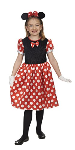 Mäuschen-Kleid in schwarz/weiß/rot | Größe 104-152 | (Up Kostüm Mouse Minnie Dress)