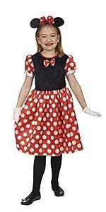 Andrea Moden 277-104 - Disfraz de ratón para niña, color rojo, negro y blanco, 104