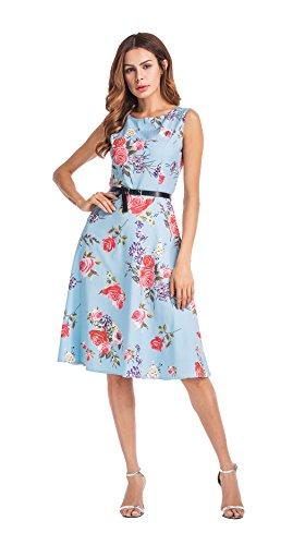 Clasichic Damen 50s Retro Vintage kleid Blumenkleid Partykleider Cocktailkleider Sommerkleid Rockabilly Kleider mit Gürtel Blau