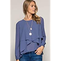 Gingerlining Blue Round Neck Blouse For Women