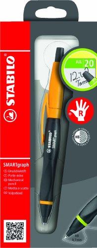Ergonomischer Druck-Bleistift mit Radiergummi - STABILO SMARTgraph in schwarz/orange - Härtegrad HB...