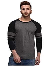 CHEEKU Roundneck Grey Cotton Men's Full Sleeve Casual Slim T-Shirt