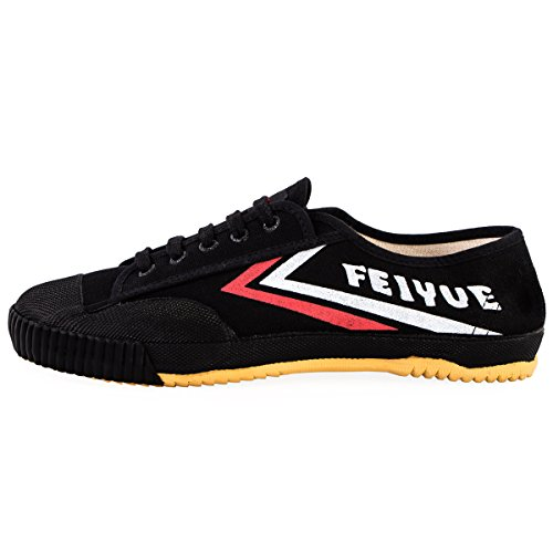 wu designs Fei Yue - Feiyue - Kampfkunst - Wushu - Sport & Parkour Schuhe - Minimal Schuhe, schwarz, 43 (Natürliche Segeltuch-schuhe)