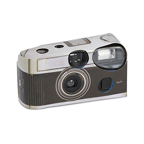 Lot de 10 appareils photo jetables avec flash, Motif Vintage Noir