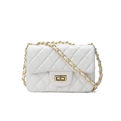 Clutch Aus Weißem Leder Handtaschen (TOYU S Lady Kleine Gold Kette Gesteppte Umhängetasche Mini Kreuz Körper Frauen Handtasche Clutch Classic Abendtasche - Weiß (20*15*7cm))