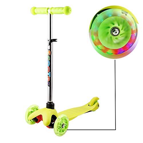 Kleinkinder Kinder Roller Scooter 3 Räder mit Leuchträdern und Verstellbare Lenker für Kleinkinder, Mädchen oder Jungen (Gelb 3)