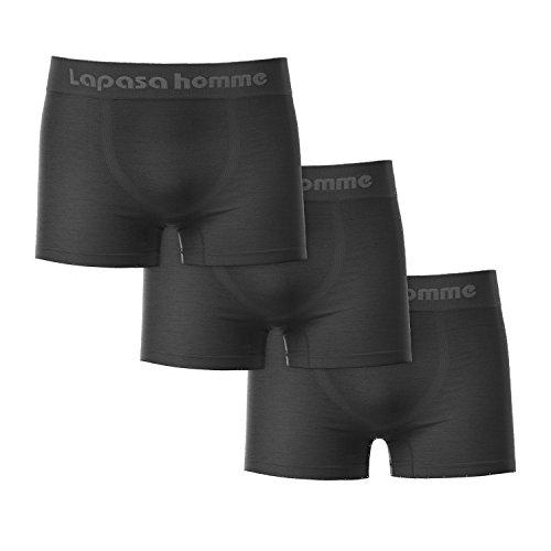 Lapasa Herren Unterwäsche, 3er Pack Herren Boxershorts, Herren Nahtlose Boxer Shorts (L, Schwarz) Nylon Boxer Für Männer