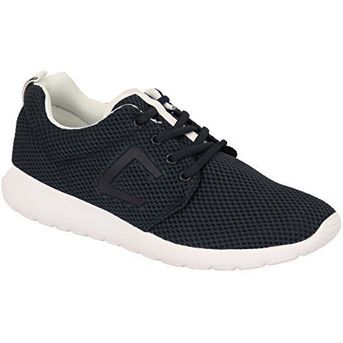 Hommes À Lacets Course Gym Baskets Maille Chaussures Plates Baskets By Crosshatch Bleu marine - GREYSTOKE