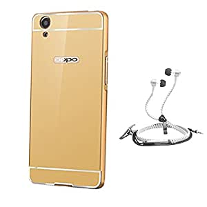 Droit Luxury Metal Bumper + Acrylic Mirror Back Cover Case For + Oppo A37 Stylish Zipper Handfree and Good QualitySound by Droit Store.
