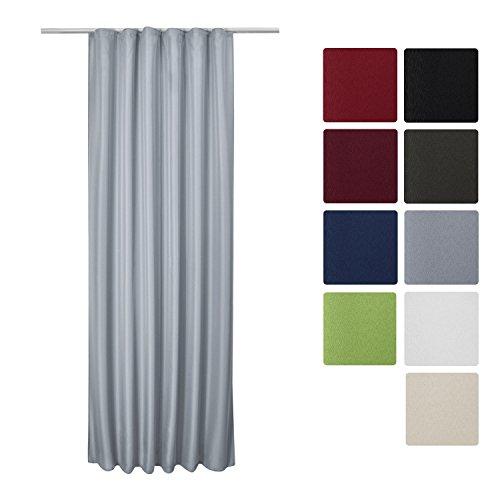 Beautissu Blickdichter Kräuselband-Vorhang Amelie - 140x175 cm Grau - Dekorative Gardine Universalband Fenster-Schal
