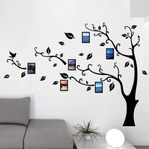 Guangmu Wandaufkleber mit Bilderrahmen 3D Wandtattoos Wandsticker Speicher Foto Acryl Baum Sticker für Hause Dekorationen Kunst (Schwarz Links, M(210 * 150CM))