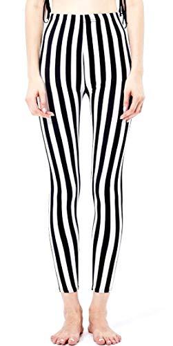 Weiße Streifen Leggings (Inception Pro Infinite Frauen Leggings - vertikale Streifen - schwarz und weiß - Geschenkidee - Einheitsgröße)