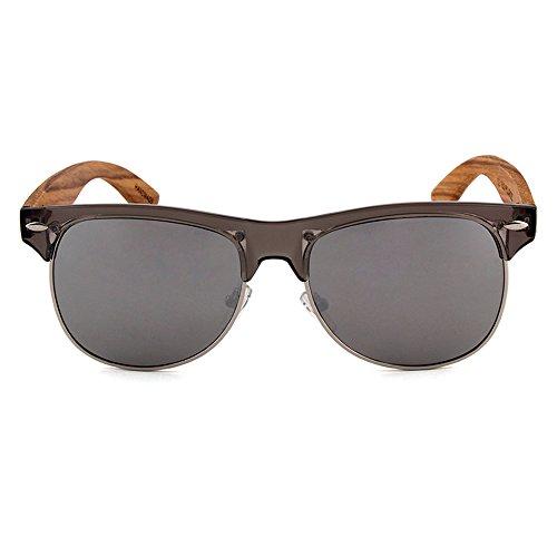 NOVEL Holz-Sonnenbrille | UV400-Schutz | Brillenbügel aus Zebraholz | Polarisierte Gläser | inkl. Etui mit Microfasertuch | Farbe: Braun/Grau
