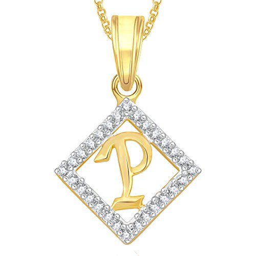 Meenaz Gold Plated 'P' Letter Pendants Alphabet Pendant With Chain For Men,Women,Kids in Ameriacan Diamond Cz Jewellery