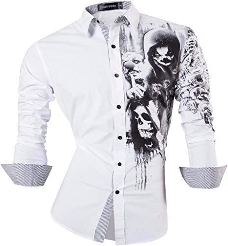 Sportrendy Herren Hemden Casual Mode Design Slim Fit Dress Shirt JZS047 White XL - White Formal Dress